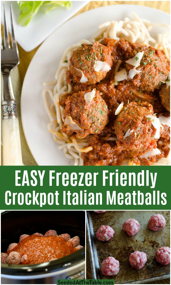 Crockpot Italian Meatballs are a mixture of ground beef and ground turkey with Italian seasonings, slow cooked in your favorite marinara sauce straight from the freezer.  These homemade Italian meatballs are easy and healthy!
