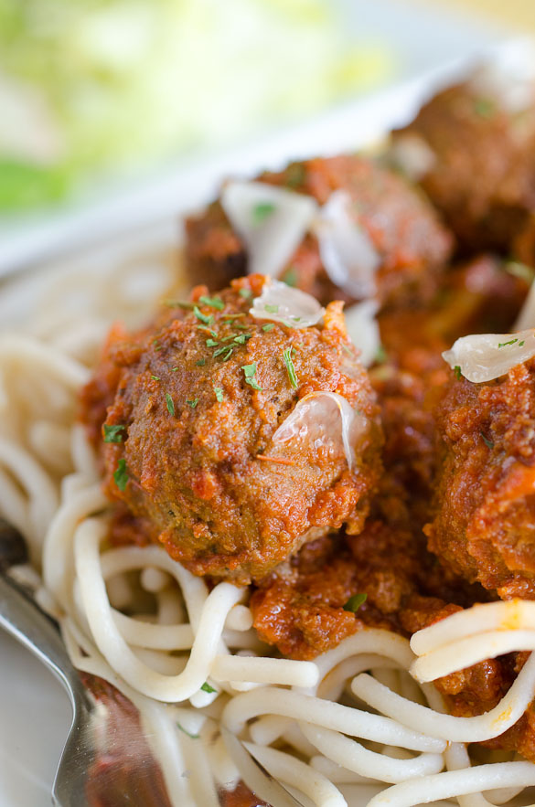 Italian meatball with spaghetti.