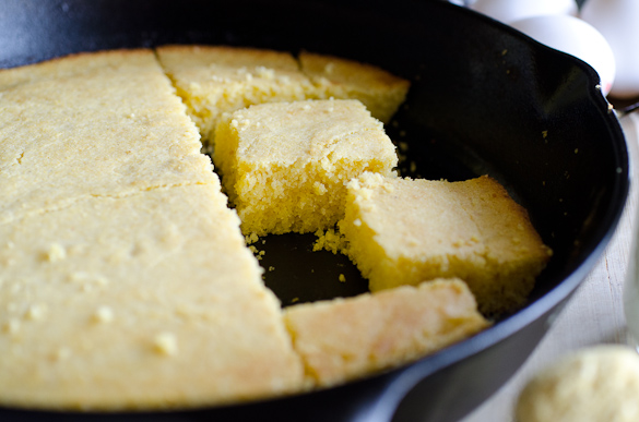 Landscape photo of skillet cornbread.