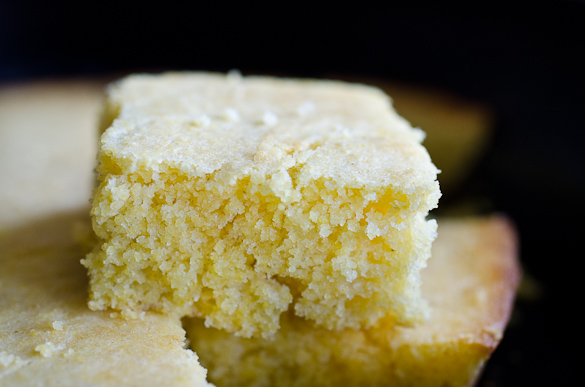 Close up of slice of cornbread.