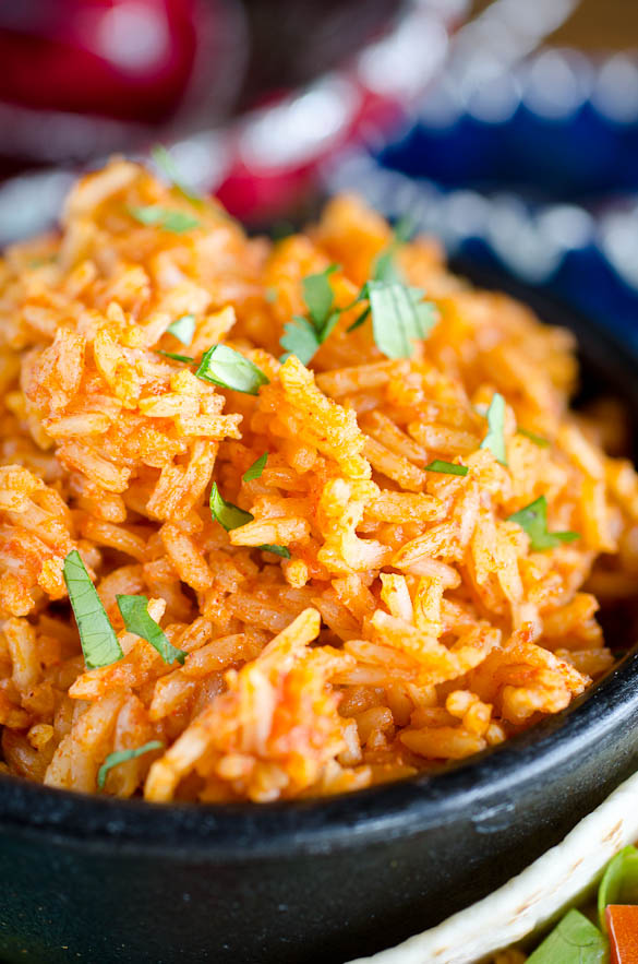 Close up photo of bowl of Mexican rice.