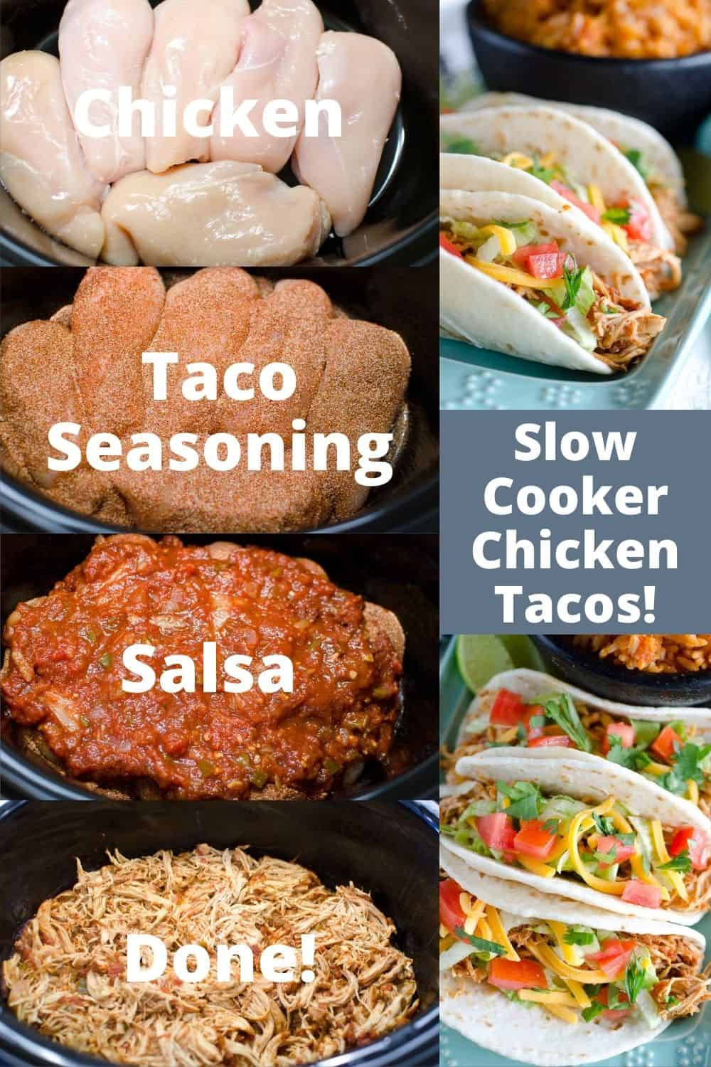 Our easy Slow Cooker Chicken Tacos recipe has only 3 ingredients! You can use this shredded chicken in tacos, enchiladas, burritos, salads and more!