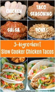 Collage of chicken breasts and other ingredients in a slow cooker and three finished chicken tacos.