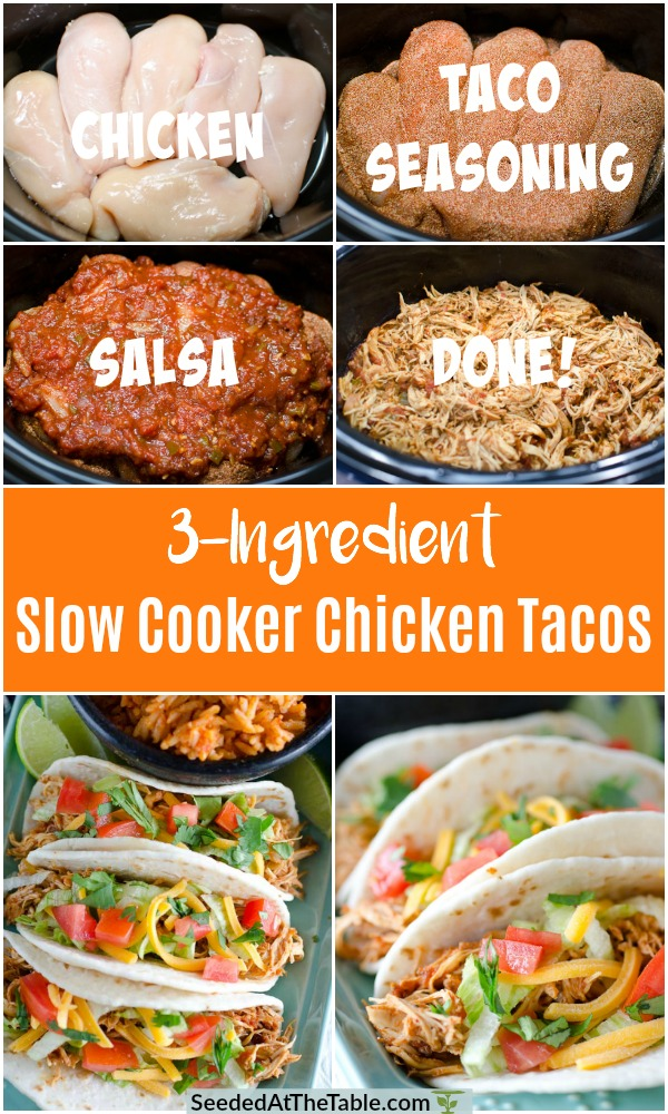 The easiest Slow Cooker Chicken Tacos with only 3 ingredients! You can use this tasty Mexican shredded chicken in tacos, enchiladas, burritos, salads and more! Healthy and simple!