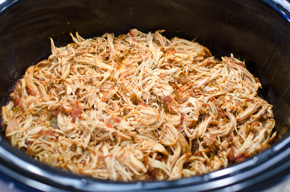 Mexican shredded chicken in a slow cooker