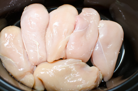 6 Boneless skinless chicken breasts in a slow cooker