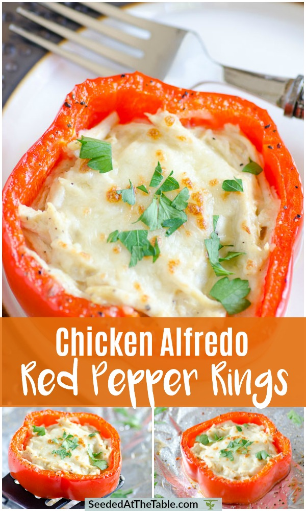 Pinterest collage of cheesy filled red pepper rings.