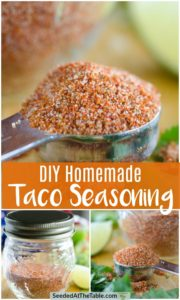 Pinterest collage of homemade taco seasoning pictured in a teaspoon and jar.