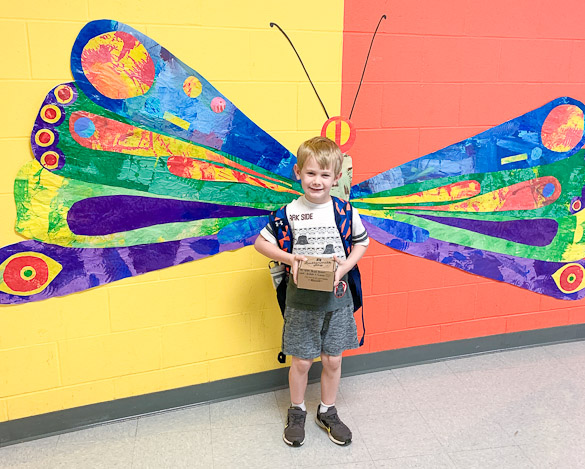 Boy and butterfly wall