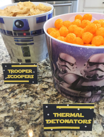 tortilla chips and chees puffs in star wars buckets