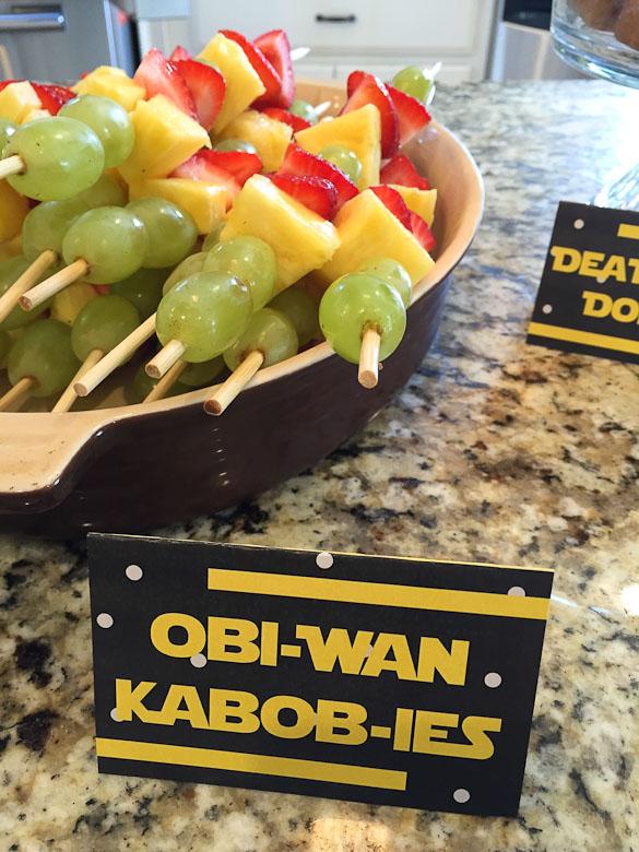 obi-wan kabob-ies fruit kabobs with star wars sign