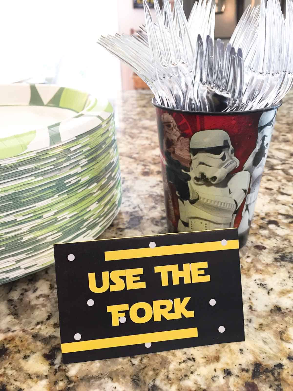 star wars food label to use the fork
