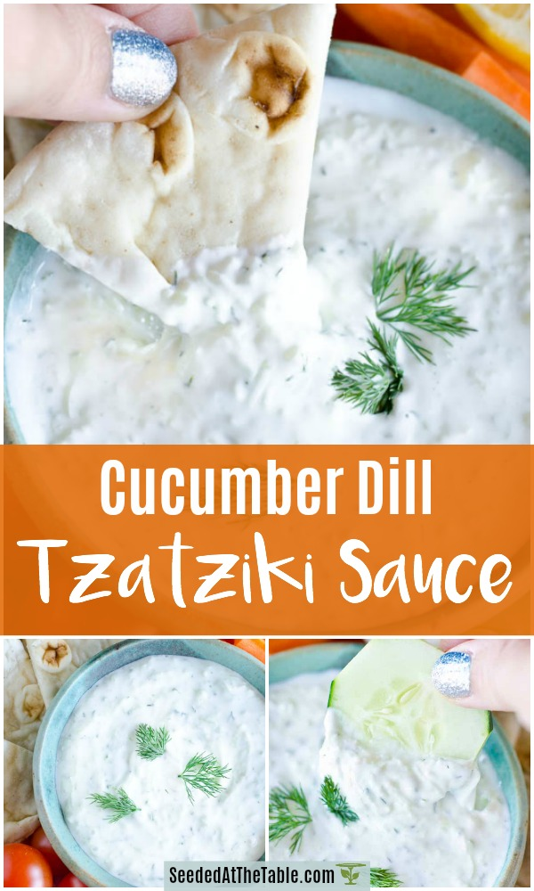 This creamy and refreshing tzatziki sauce recipe can be added to any of your meats, vegetables, gyros and other Greek or Middle Eastern food.  Or use the tzatziki sauce as a cucumber and dill dip with pita wedges and veggies!