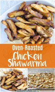 Collage of chicken shawarma.