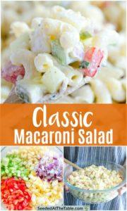 Collage of macaroni salad.