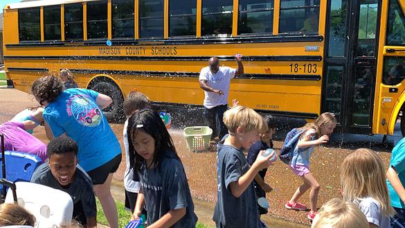 School bus water fight.