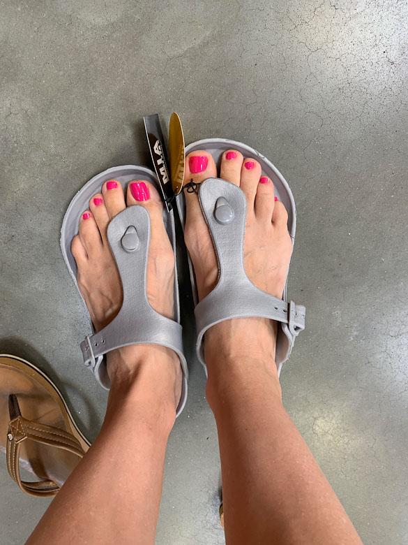 Mia Jaxx sandals with tag on them at Sam's Club.