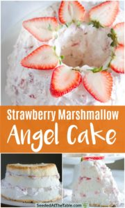Collage of angel food cake with strawberry marshmallow frosting.