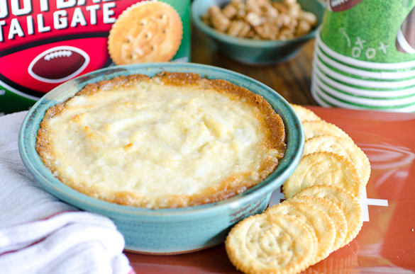 Hot onion dip with Ritz crackers