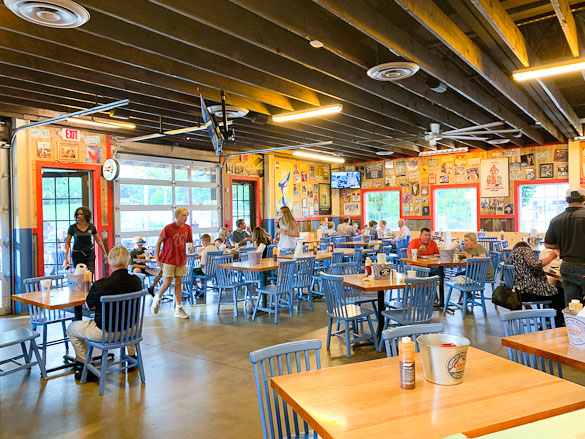 Inside look at dining room for Martin's Barbecue restaurant