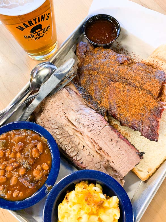 Plate of barbecue and beer.