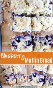 Collage of blueberry muffin bread for pinterest.