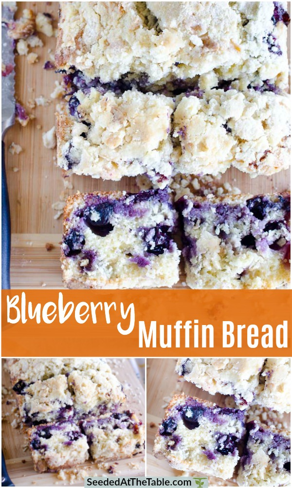 This Blueberry Muffin Bread is my favorite blueberry muffin recipe baked into a loaf pan with a streusel crumb topping.  Loaded with blueberries and a crumble topping, you will want to devour every slice of this blueberry bread!