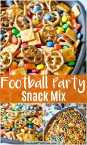 Collage of football pretzel snack mix
