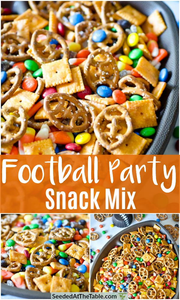 Throw together the easiest snack mix for your game day party!  This Football Party Snack Mix is a simple combination of sweet and salty snacks using football shaped pretzels!  Or, use tiny twist pretzels for any occasion!