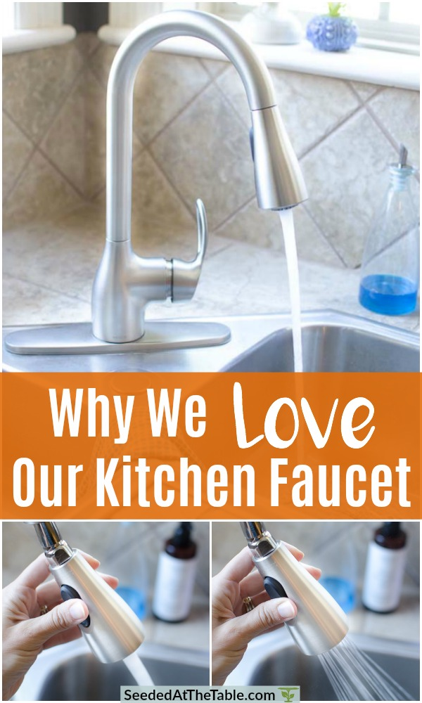 We recently replaced our kitchen faucet and LOVE it.  Read to find out details of the one we chose.