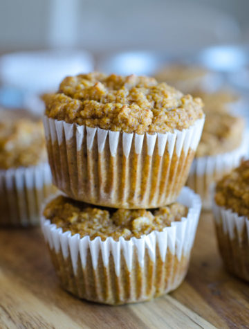 Two muffins stacked