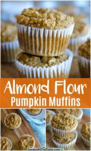 collage of almond flour pumpkin muffins