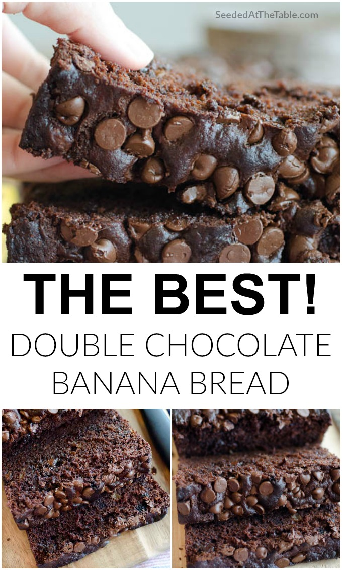 This double chocolate banana bread is super moist, yet hearty and stable to hold its shape when sliced. Loaded with chocolate chips for the chocolate lover's dream!