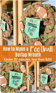 Collage of burlap wreaths with football decorations
