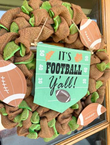 Brown and green burlap wreath with football decorations