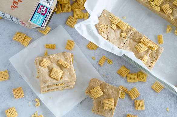 Overhead of homemade protein bars with Chex cereal