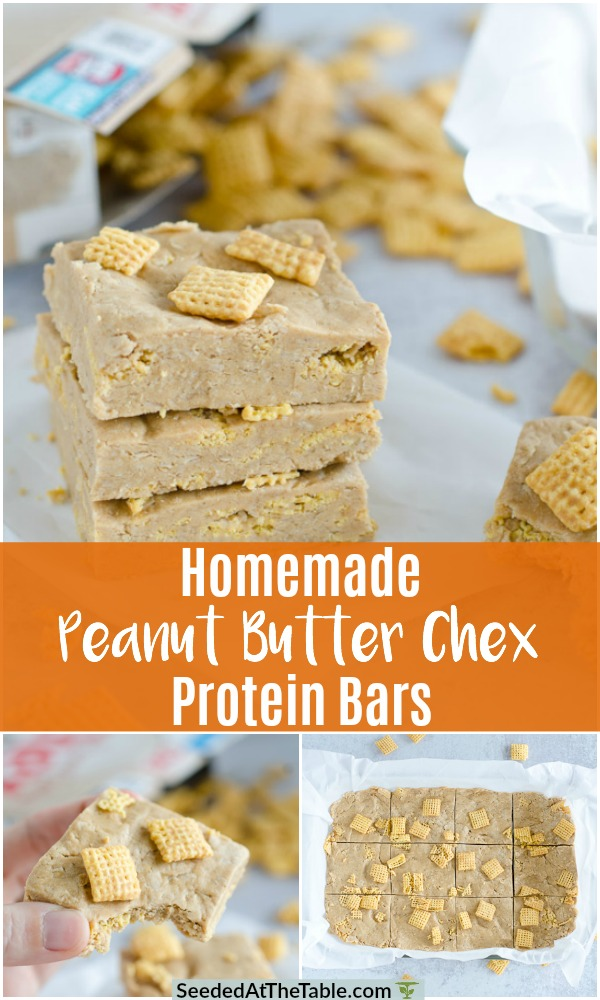 Homemade peanut butter protein bars with oatmeal, honey, protein powder and Chex cereal!  Easy, no-bake and much better than store-bought!