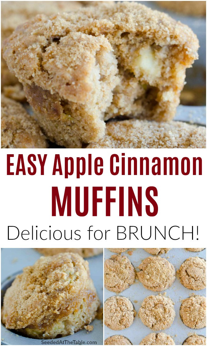 Our favorite apple muffins! These easy muffins have tender apple pieces in every bite with a sweet cinnamon streusel topping.