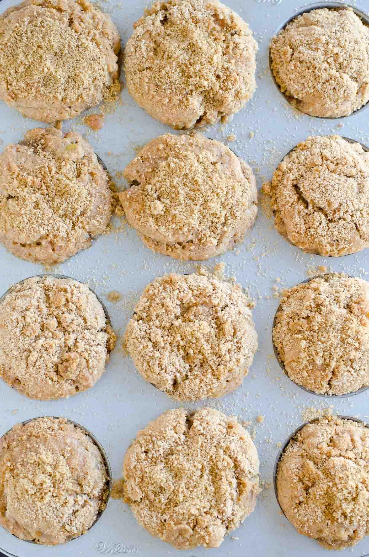 a dozen muffins in cupcake tin