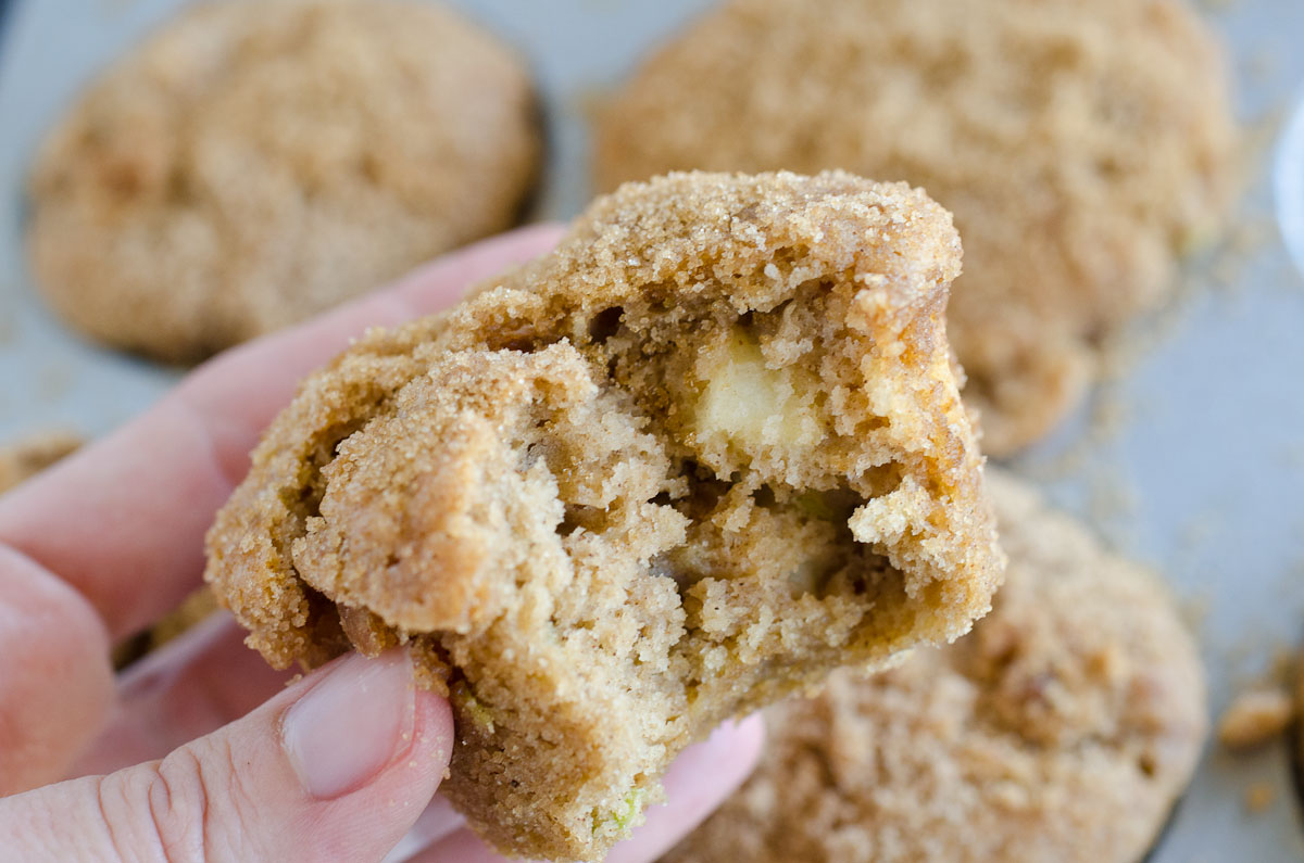bite out of apple muffin