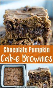 collage of pumpkin chocolate brownies