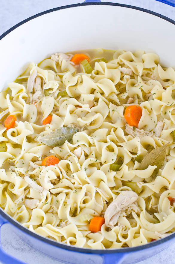 Pot of chicken noodle soup