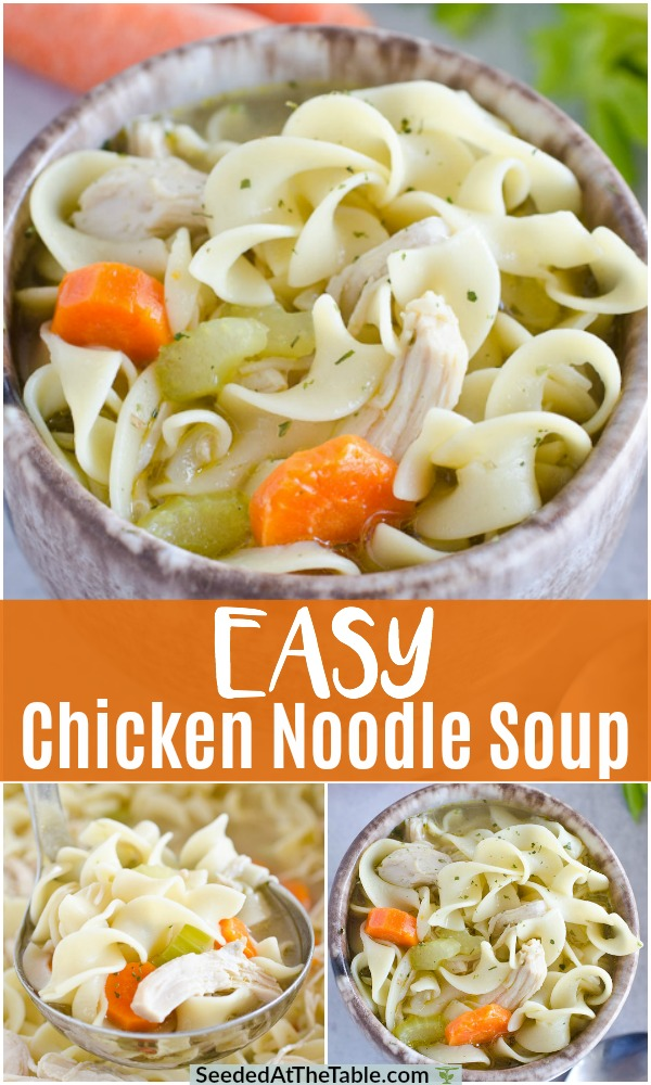 This homemade chicken noodle soup recipe is ready in 30 minutes!  A perfect weeknight comfort meal, you will love this easy chicken soup!