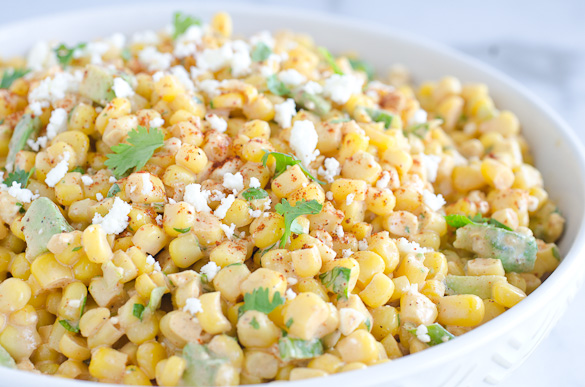 Bowl of corn salad with mexican spices