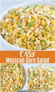 collage of corn salad with mexican flavors