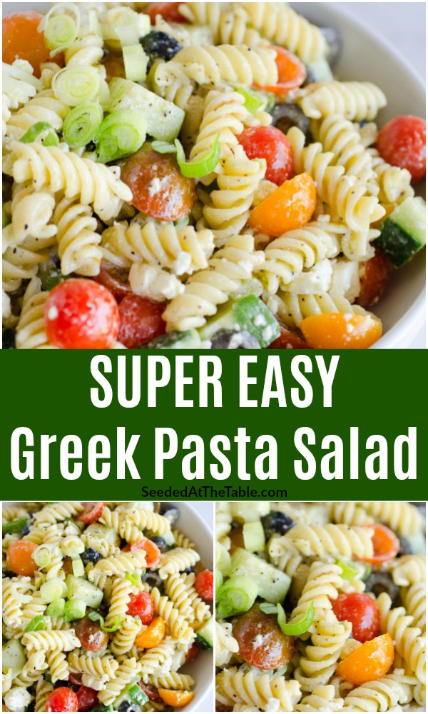 Greek Pasta Salad is the perfect side dish for any picnic food. This easy pasta salad is a mix of tender pasta, cucumbers, olives, tomatoes and cheese with a simple Greek dressing.