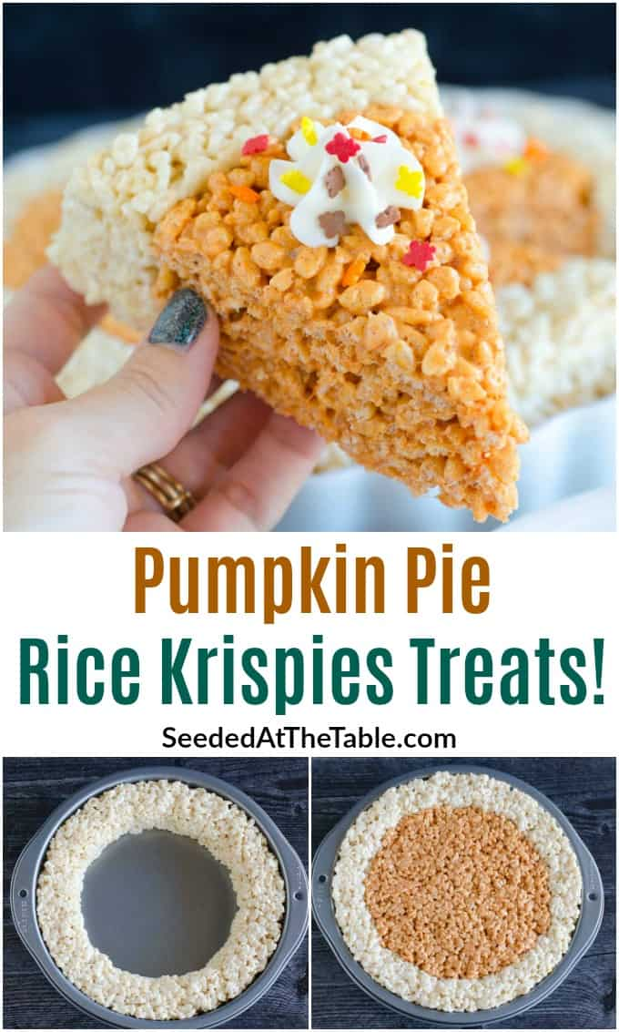 Try a slice of our Pumpkin Pie Rice Krispies Treats. An EASY and QUICK recipe and a kid-favorite Thanksgiving dessert!