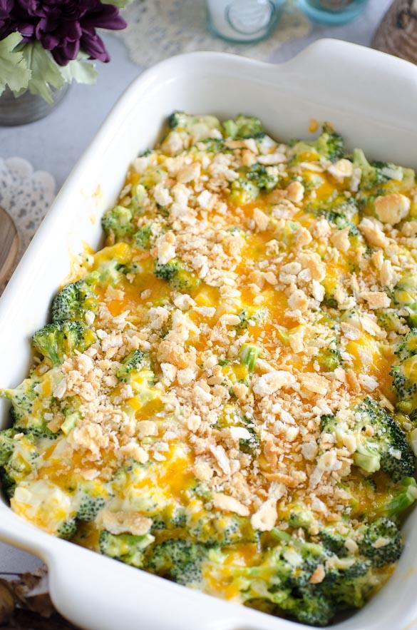 dish of broccoli cheese casserole