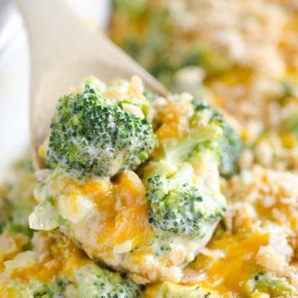 scoop of broccoli cheese casserole dish