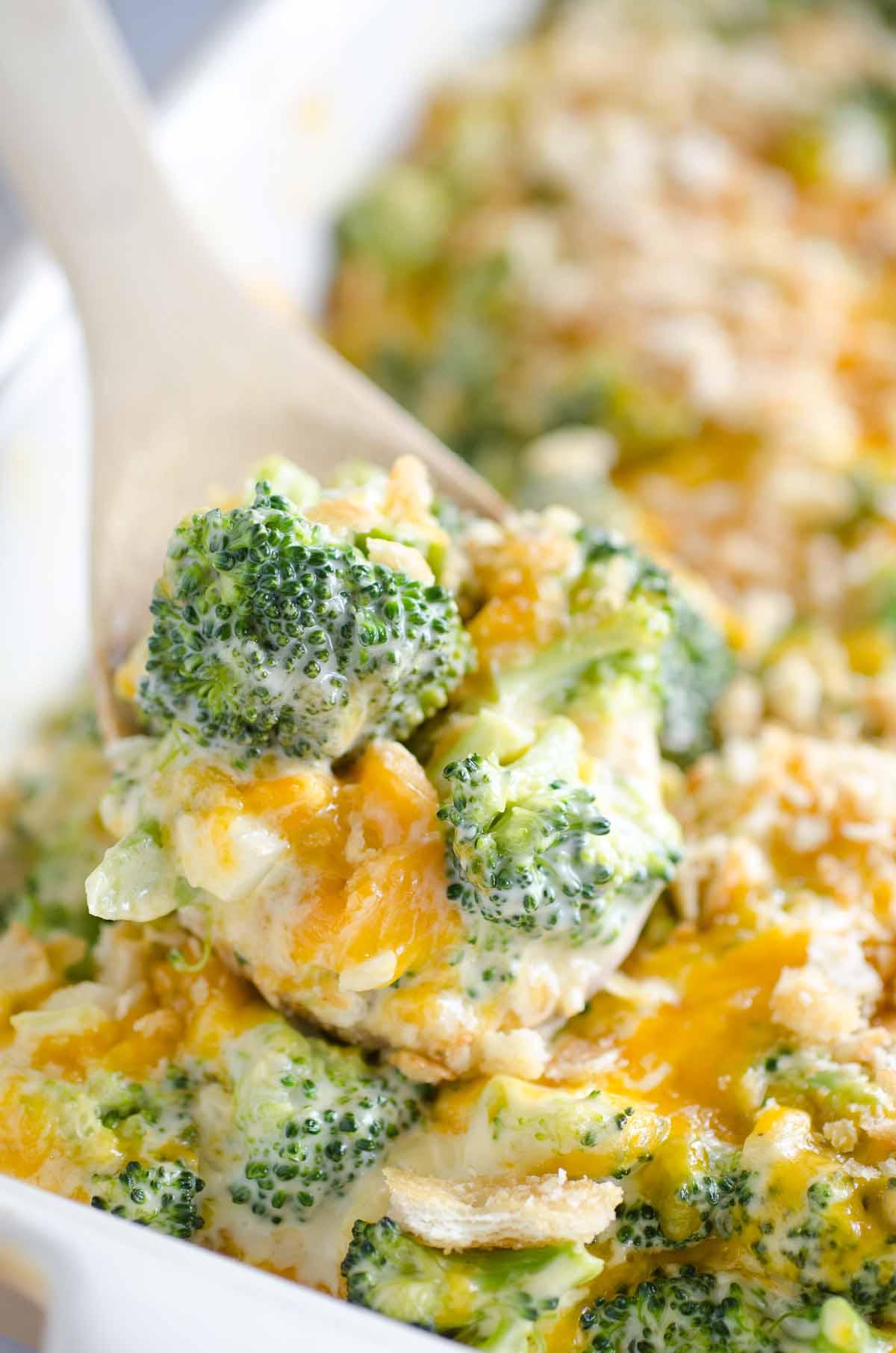spoonful of cheesy broccoli casserole